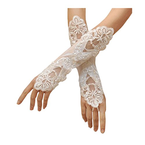 Mid Arm Length Lace Gloves (Deceny CB Lace Wedding Gloves Fingerless Satin Gloves for women Party Costume (White))
