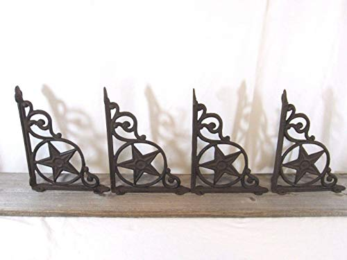 Western Star Shelf Brackets - 4 Cast Iron Antique Star Brackets Garden Braces Shelf Bracket Rustic Vintage Looking
