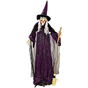 Halloween Haunters 6 Foot Animated Standing Speaking Scary Evil Wicked Witch Broomstick Prop Decoration with Turning…