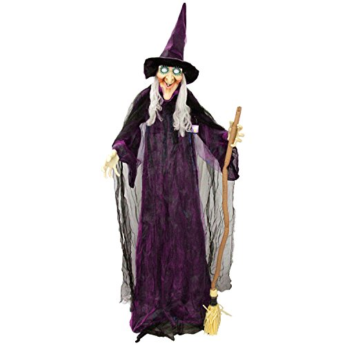 Halloween Haunters 6 Foot Animated Standing Scary Evil Wicked Witch Broomstick Prop Decoration - Turning Body & Head, Speaks, Cackles, LED -