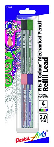 Pentel Arts 8 Colour Pencil Lead Refill (2.0mm) - Assorted Colors, 4-Pk (CH2BP4M2) Pentel Colored Leads