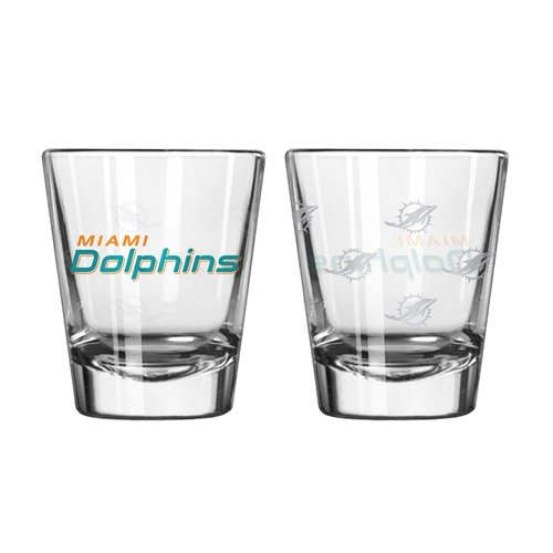 Miami Dolphins Shot Glass - Boelter Brands NFL Miami Dolphins Shot GlassSatin Etch Style 2 Pack, Team Color, One Size