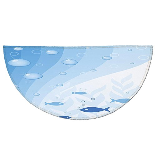 Tank Wave Under Heat (Half Round Door Mat Entrance Rug Floor Mats,Aquarium,Abstract Vivid Underwater Composition with Waves Bubbles Fishes and Plants Decorative,Light Blue White,Garage Entry Carpet Decor for House Patio Gr)