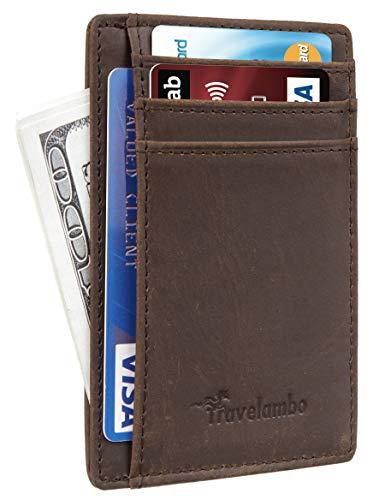 Travelambo Front Pocket Minimalist Leather Slim Wallet RFID Blocking Medium Size(Crazy Horse Khaki Deep Premium)