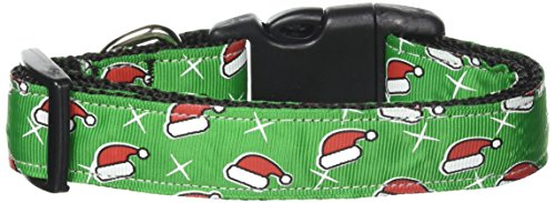 Christmas Collar Ribbon Dog Pet (Mirage Pet Products Santa Hat Nylon Ribbon Collar for Dogs, Medium)