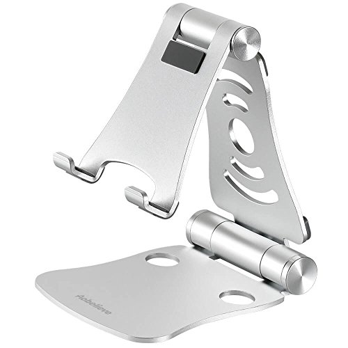 Aobelieve Foldable Aluminum Cell Phone and Tablet Desktop Stand for iPhone, iPad and More - Silver