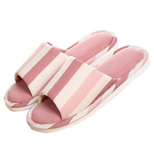TELLW Spring Summer couple Slippers Home linen Wooden flooring anti-slipping soft bottom cotton slippers Pink biLe9JkFy