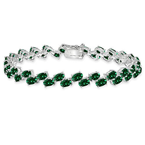 Oval 5x3mm Emerald (Sterling Silver Simulated Emerald 5x3mm Oval Wave Tennis Bracelet)