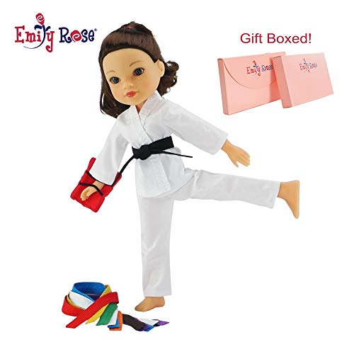Emily Rose 14 Inch Doll Clothes for Glitter Girls and Wellie Wishers | 12 Piece Doll Karate Outfit with All 9 Color Belts! | 14 Wellie Wisher Doll Clothes | Gift Boxed!
