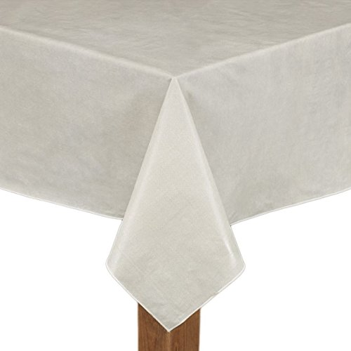 Cafe Deauville Ivory 52x70 Oblong (Rectangle) Vinyl Tablecloth [Kitchen] (Vinyl Series Tablecloth)