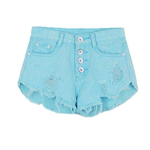 Blu Con Estate WanYang Tasche Jeans Buco Pants Denim Cielo Pantaloncini Shorts Pants Donna Pantaloni Denim Hot Blu xnYwRYqa8