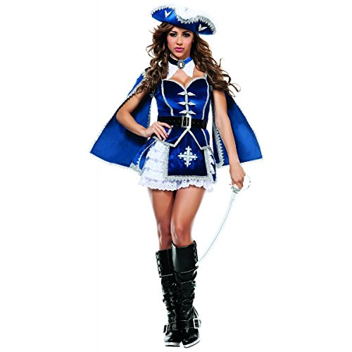 (Starline Women's All For You Musketeer Sexy Costume Set, Blue/Silver,)