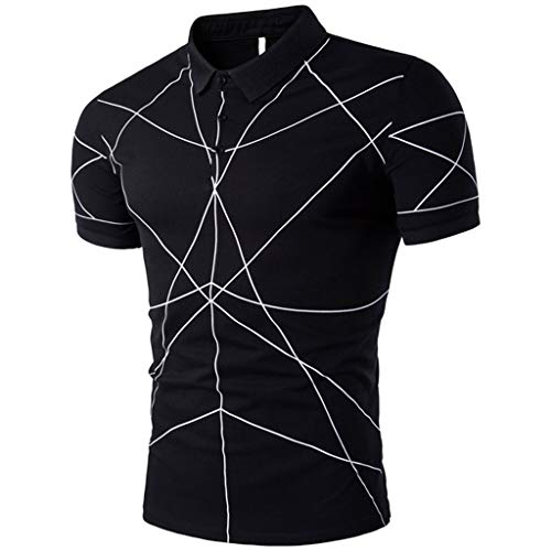 JJLIKER Men's Big and Tall Flex Short Sleeve Stretch Lines Polo Shirt Regular-Fit Slim Fit Quick-Dry Golf T-Shirt Work Black