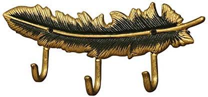 コートフック アンティーク クリエイティブ 羽 鍵 フック 玄関 コートラック リビングルーム 部屋 壁掛け式 ポールハンガー ホームデコレーション ゴールド 33cm