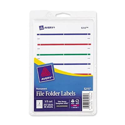 Avery Print or Write File Folder Labels for Laser and Inkjet Printers, 1/3 Cut, Assorted Colors