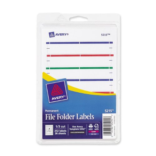 Avery Print or Write File Folder Labels for Laser and Inkjet Printers, 1/3 Cut, Assorted Colors, Pack of 252 (5215) ()