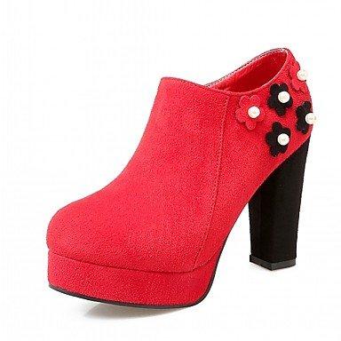 Aiurbag Femmes-talons-bureau Et De Travail Casual Formal-confortable-carré-faux Cuir-noir Jaune Rouge