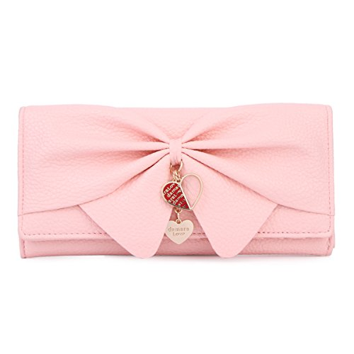 Damara Women Long Faux Leather Bifold Large Bow Design Wallet Handbag,Peach Pink