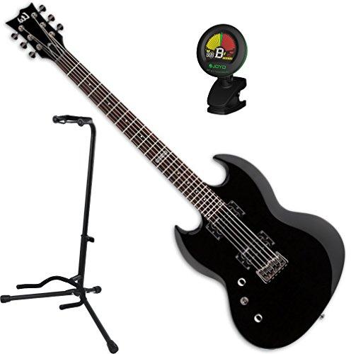 ESP LTD Viper-200 Baritone BLK LEFT HANDED Electric Guitar w/ Stand and Tuner Esp Viper Baritone