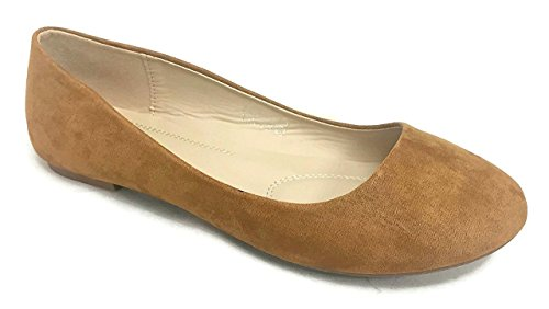 (Bella Marie Stacy-12 Round Toe Slip On Suede Ballet Flats for Women Tan 7.5)