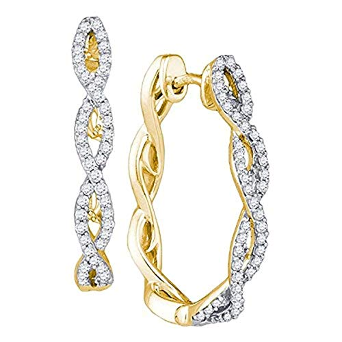 Roy Rose Jewelry 10K Yellow Gold Womens Round Diamond Twist Hoop Earrings 1/2-Carat tw ()