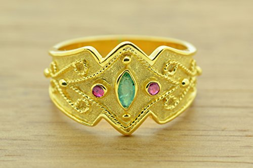 Style Etruscan Ring (Etruscan Style Ring With Round Cut Rubies Marquise Emerald Cz Ring 22K Gold Plated, Byzantine Rubies Emeralds CZ Ring, 22K Gold Plated Ring, CZ Band Ring, Sterling Silver Ring, Byzantine Ring, Greek Jewelry, Luxury Ring, Medieval Ring, Elegant Sterling Silver Ring, cubic zirconia Ring)