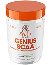 Genius BCAA Powder – Nootropic Amino Acids & Muscle Recovery Drink   Natural Vegan Energy BCAAs for Women & Men (Pre, Intra & Post Workout)   Natural Brain Boost & Focus Supplement, Grape Limeade,287