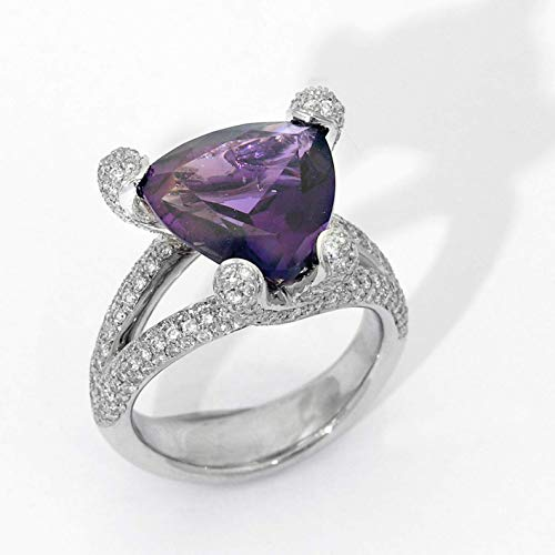- 18k white gold Trillion Amethyst Diamond Ring