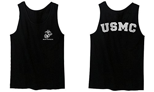 USA American Logo Seal Marine Corps USMC United Men's Tank Top (Black, Large) (Marine Tank Top Men Corps)