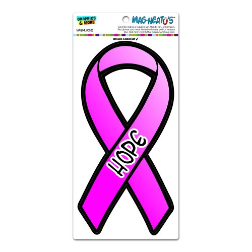 Graphics and More Hope Breast Cancer Awareness Pink Ribbon MAG-NEATO'S(TM) Automotive Car Refrigerator Locker Vinyl (Pink Ribbon Graphic)
