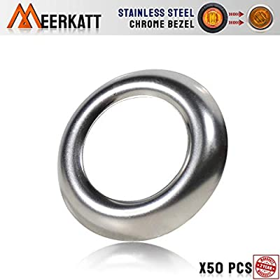 Meerkatt (Pack of 50) 304 Stainless Steel Trim Ring Chrome Bezel for 3/4 Inch Round Surface Mount Button Clearance Bullet LED Side Marker Lights Covers Kit (Light not included) 304-Ring: Automotive