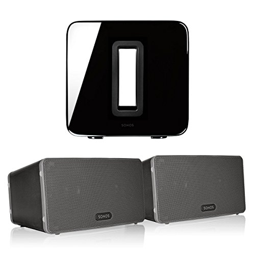 Sonos PLAY:3 (Black, Pair) Multi-Room Digital Music System Bundle & Sonos Wireless SUB (Black)