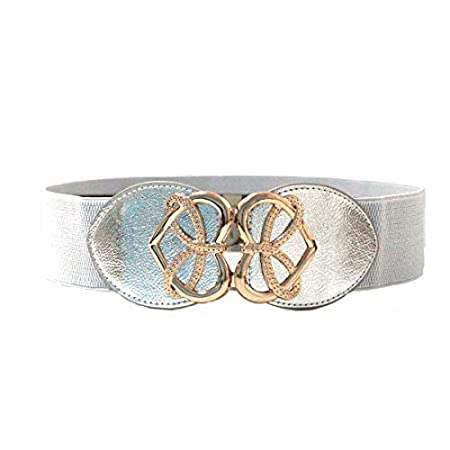 92fb0ed70 Trimming Shop Silver Waist Belt For Women Ladies Girls With Golden Heart  Shape Buckle, Stretchable