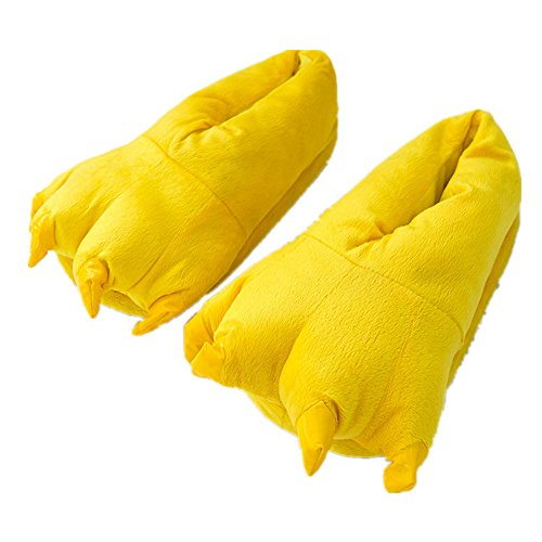 MiziHome Unisex Soft Paw Claw Home Slippers Animal Costume Shoes Yellow S -