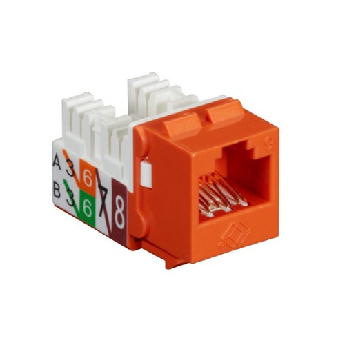 (Black Box GigaTrue2 CAT6 Jacks, Universal Wiring, Component Level, 25-Pack, Orange)