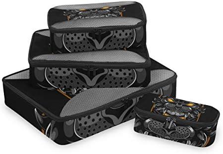 ブラックタイガーヘッドスカルアート荷物パッキングキューブオーガナイザートイレタリーランドリーストレージバッグポーチパックキューブ4さまざまなサイズセットトラベルキッズレディース