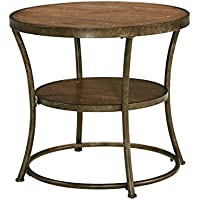 Nartina Light Brown Wood and Metal Round End Table