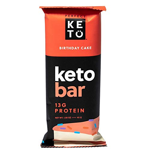 Perfect Keto Bars - The Cleanest Keto Snacks with Collagen and MCT. No Added Sugar, Keto Diet Friendly - 3g Net Carbs, 17g Fat, 13g protein - Keto Diet Food Dessert (Birthday Cake, 12 Bars)