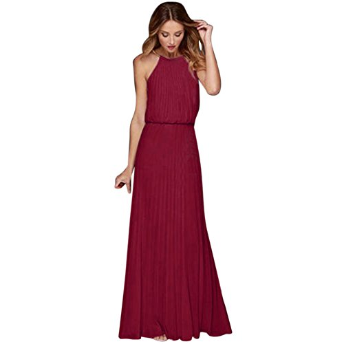 clearance sale!!ZEFOTIM Womens Formal Chiffon Sleeveless Prom Evening Evening Party Long Maxi Dress(Small,Wine Red) (Kim Kardashian Red Lace Dress For Sale)