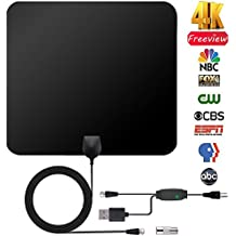 HDTV Antenna Kit, SRS DIGICH Updated 2018 Version Indoor Digital 4K 1080P TV Antenna, 50 Miles Range with Detachable Amplifier Signal Booster, 10FT Coax Cable and USB Power Supply - Square