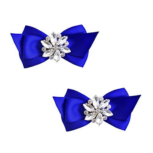 ElegantPark CQ Women Bow Shoe Clips Rhinestones Decorative Jewelry Wedding Party Accessories Decoration Blue 2 Pcs (Bow Shoe Clips)