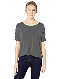 Daily Ritual Womens Standard Jersey Rib Trim Drop-Shoulder Short-Sleeve Scoop Top