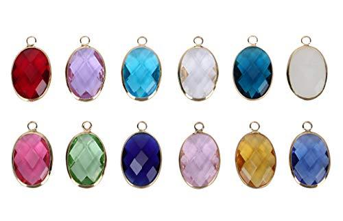 Birthstone Austrian Crystal Rings - 2pcs December Birthstone Charms 18mm Austrian Crystal Beads for Earrings Bracelet Necklace Keychain Jewelry Making CCP6-12