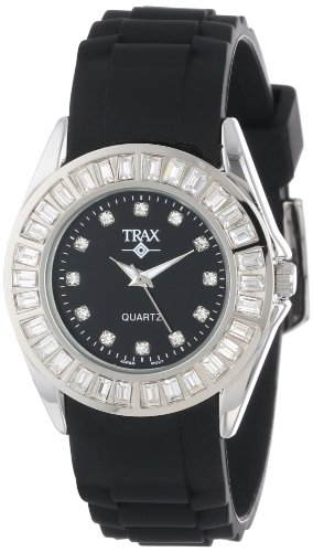 Trax Women s TR3925-BK Rox Black Rubber Black Dial Crystal Bezel Watch