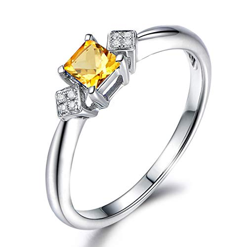 Daesar Promise Rings for Women Sterling Silver Ring Cubic Zirconia Ring Cushion Cut 5x5MM Citrine Ring Band Size 6.5