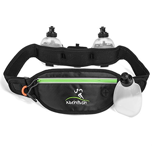 6 Oz No Iron (Hydration Running Belt for Top Athletes, Can Fit iPhone 7, iPhone 6S, Galaxy Note 7. Bonus: 3x 6oz Water Bottles. w/35 up  to 44 inches Adjustable Waist)