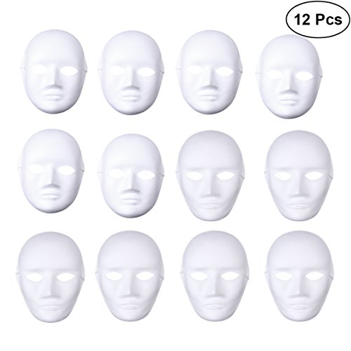 BESTOYARD 12pcs Full Face Halloween Costumes DIY Blank Painting Mask Halloween Hip-Hop Dance Ghost Cosplay Fancy Dress Masquerade Party Mask (6pcs Male and 6pcs Female) -