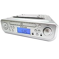 Craig Under Cabinet CD Player Alarm Clock AM FM Radio Bluetooth Kitchen Home Use