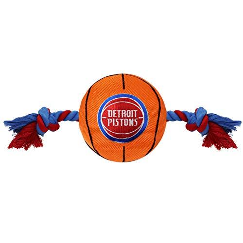 NBA Detroit Pistons Basketball Toy. - Tough Nylon Pet Toy with Tug Ropes & Inner Squeaker ()
