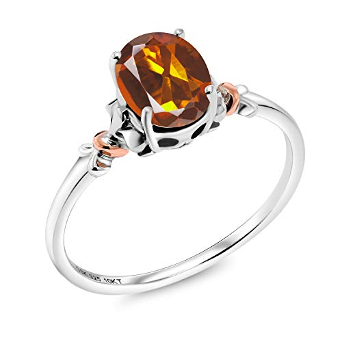 - 925 Sterling Silver and 10K Rose Gold Ring Oval Orange Red Madeira Citrine 0.70 cttw (Size 7)